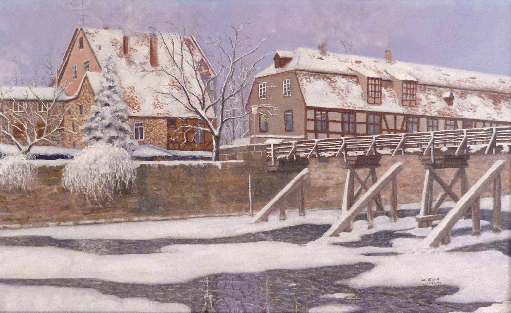 The Nuremberg Kleinweidenmühlsteg in winter