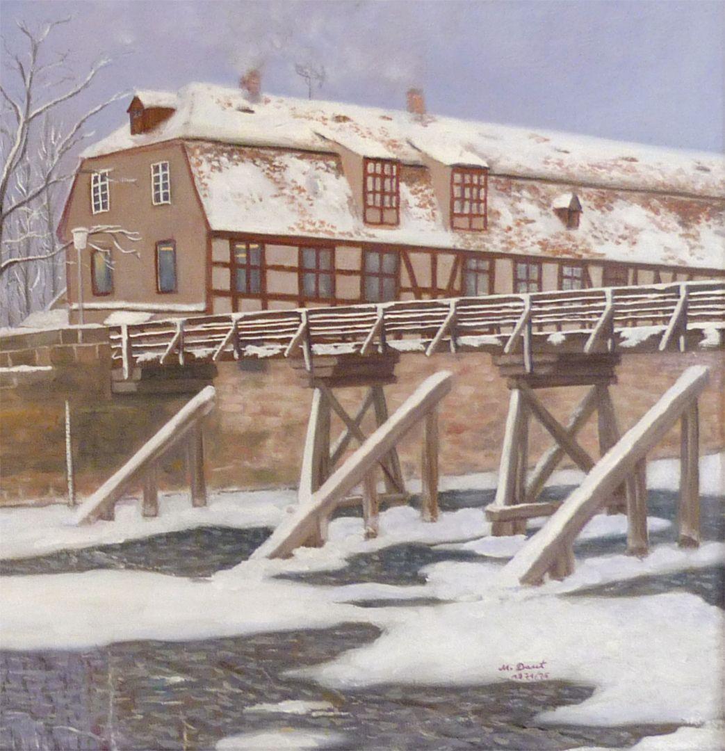 The Nuremberg Kleinweidenmühlsteg in winter Right half of the picture, detail