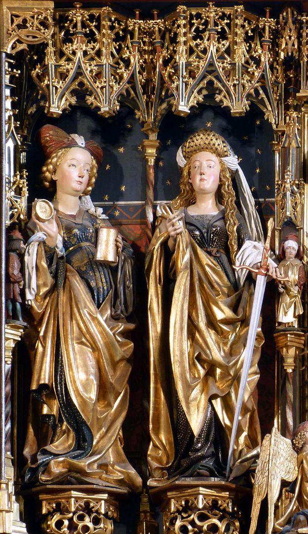 Zwickauer Hochaltarretabel Schrein, Magdalena und Katharina