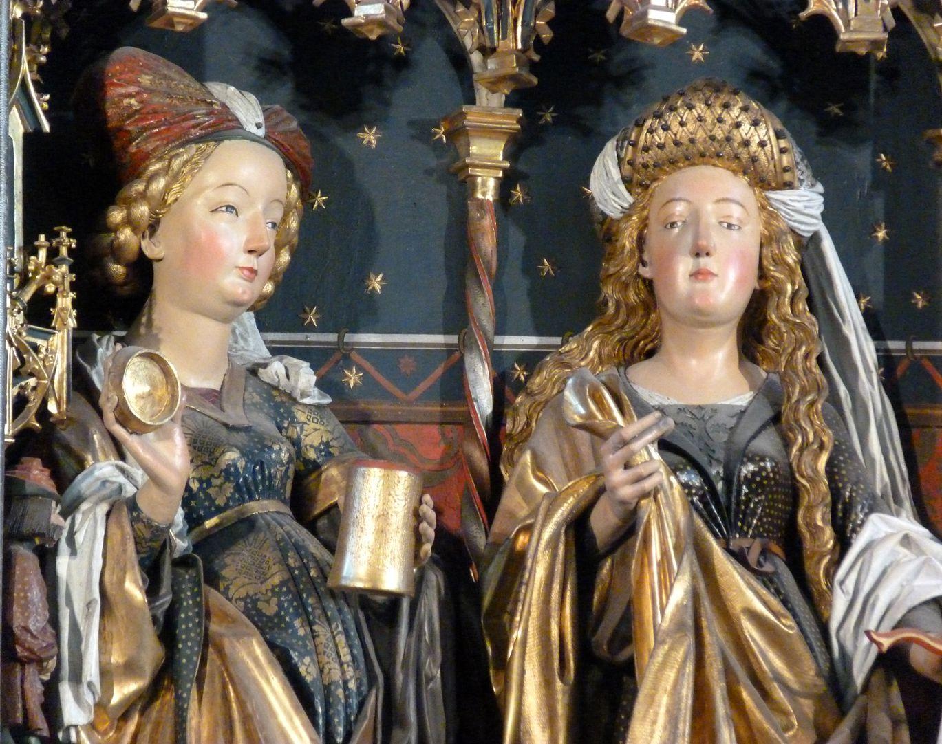 Zwickauer Hochaltarretabel Schrein, Magdalena und Katharina, Detail