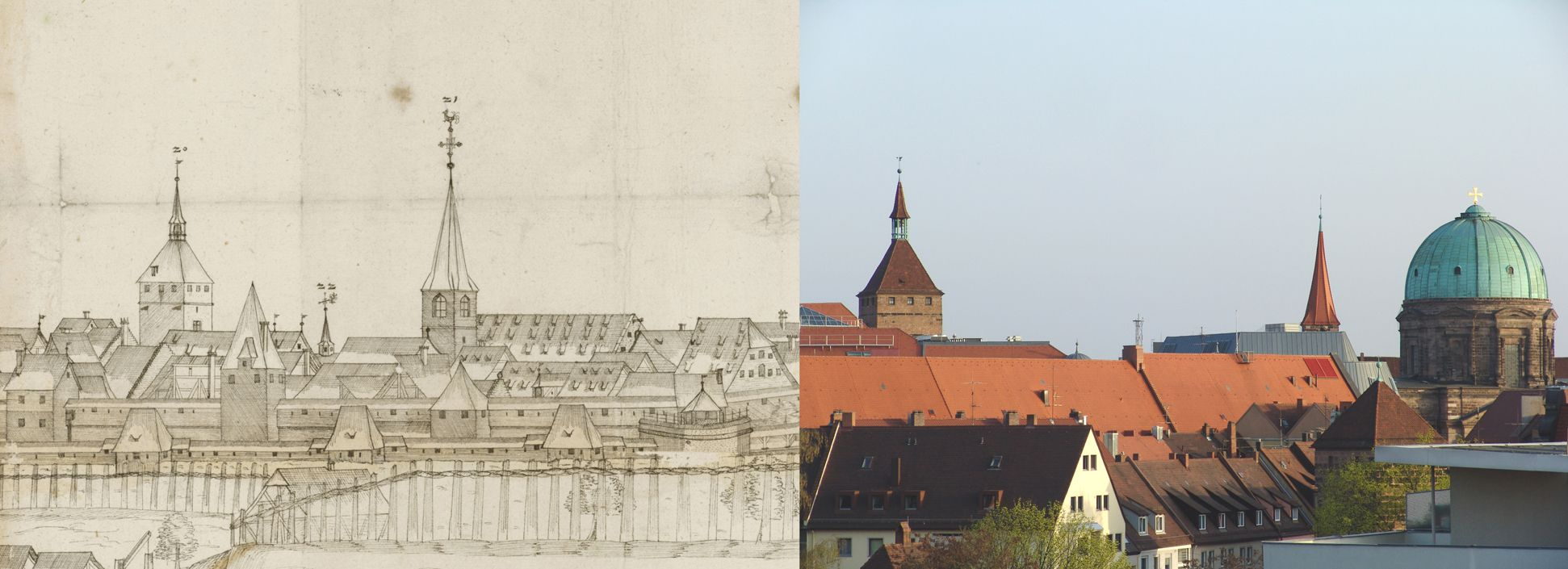 Panoramic view of the City of Nuremberg as seen from the west Contrasting the right third, White Tower and St. Jakob-Church (in the place of the old small Elisabeth-Chapel now the Elisabeth-Church from Early Classicism) with the state of today