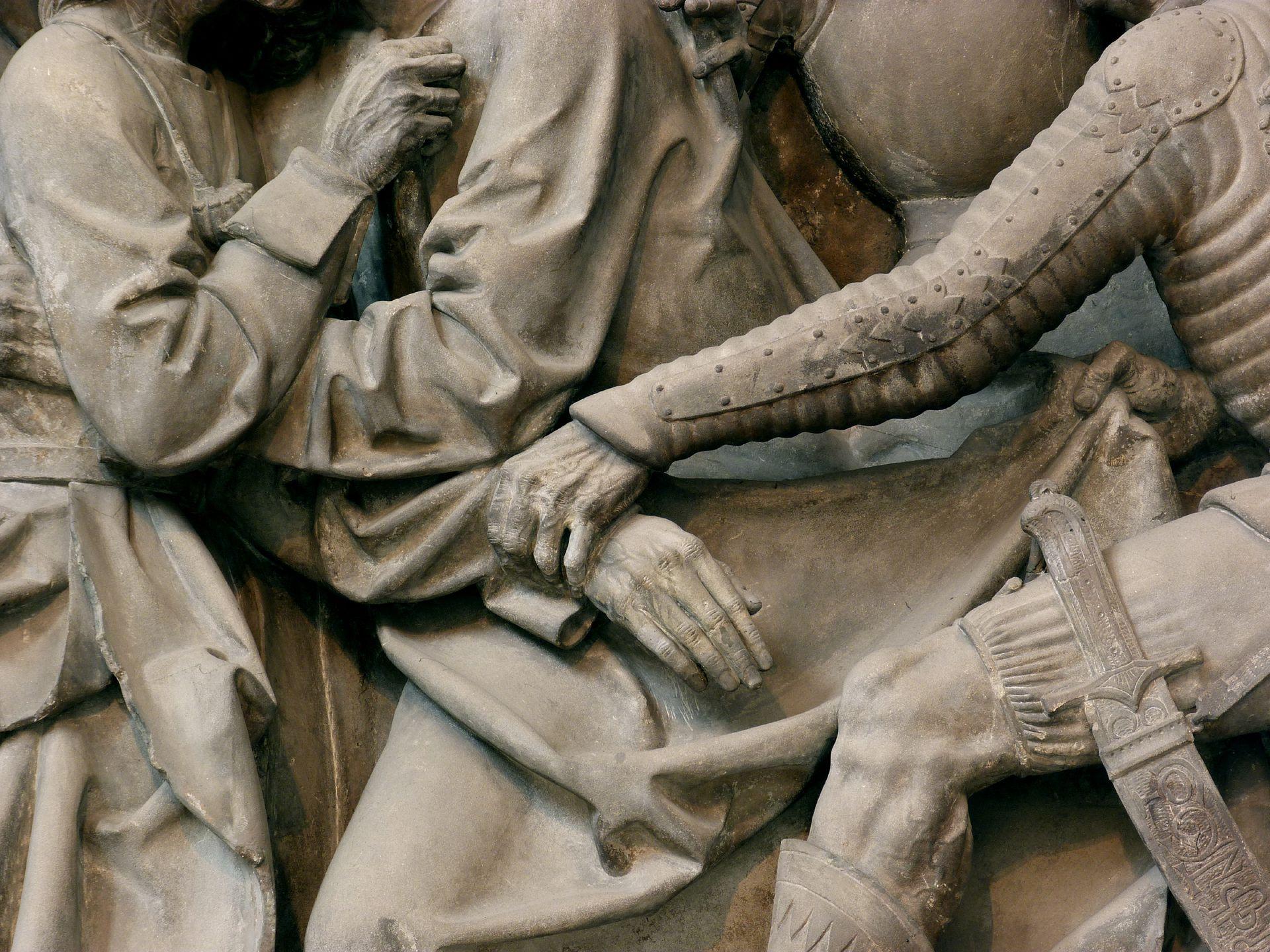Volckamer Memorial Foundation, relief plates Arrest, detail: Hands