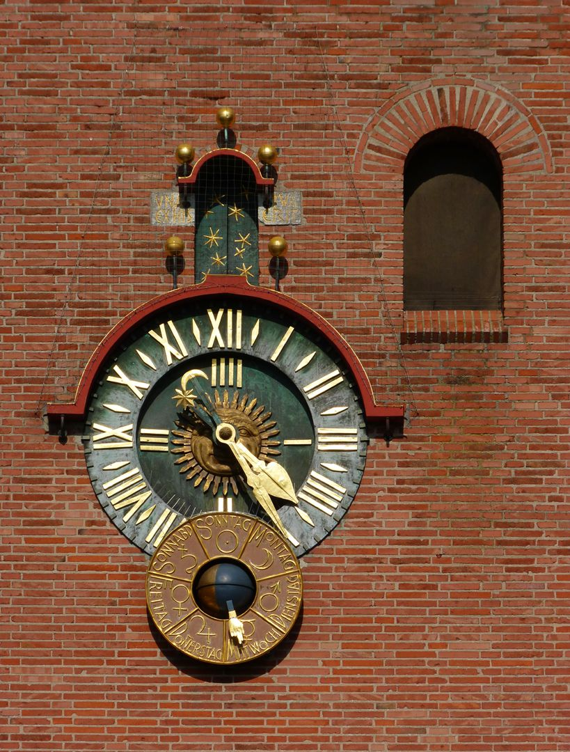 Melanchthon-Church Clock face with disc showing  the day of the week and moonphases