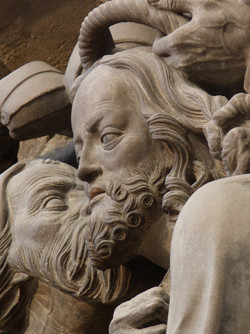Volckamer Memorial Foundation, relief plates Arrest, detail: Judas´s kiss laterally