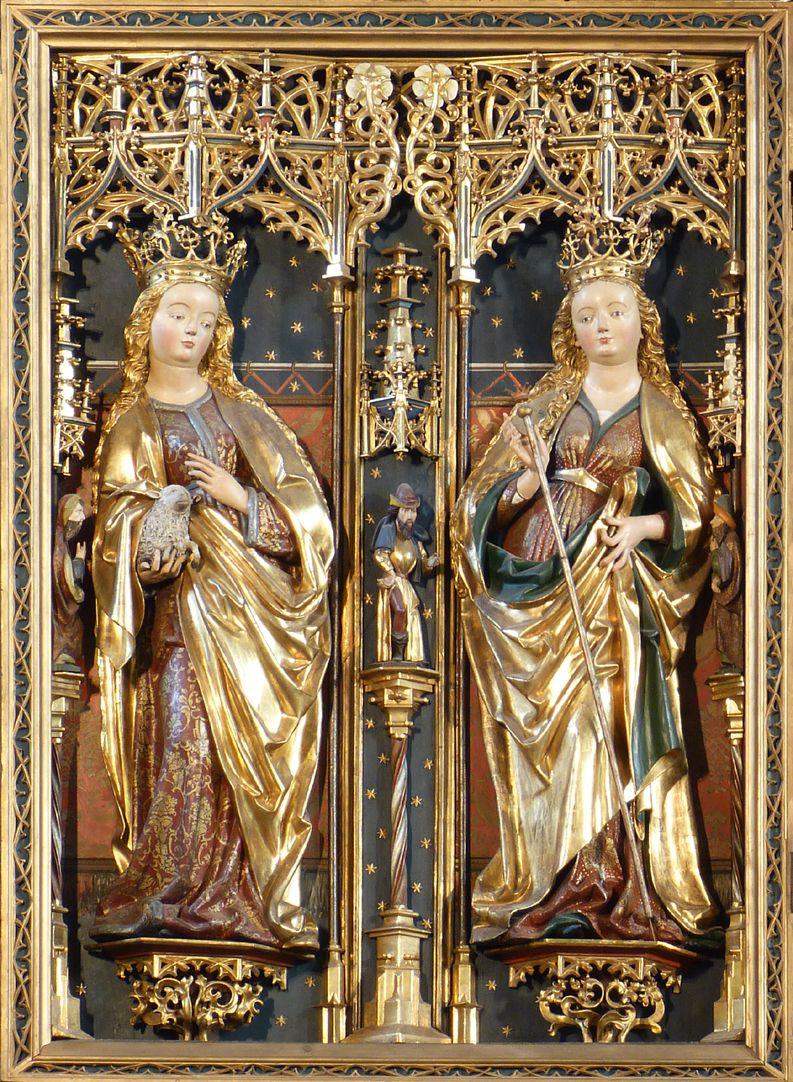 Zwickauer Hochaltarretabel linker Flügel mit Agnes und unbekannter Heiligen