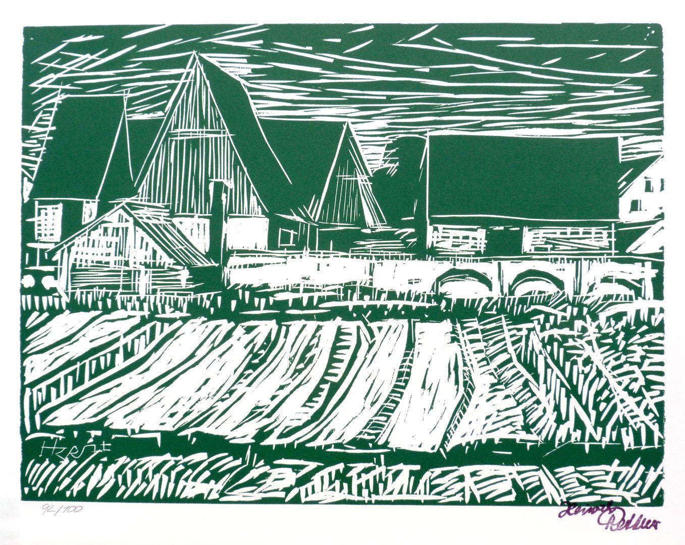Graphic print Franconian village