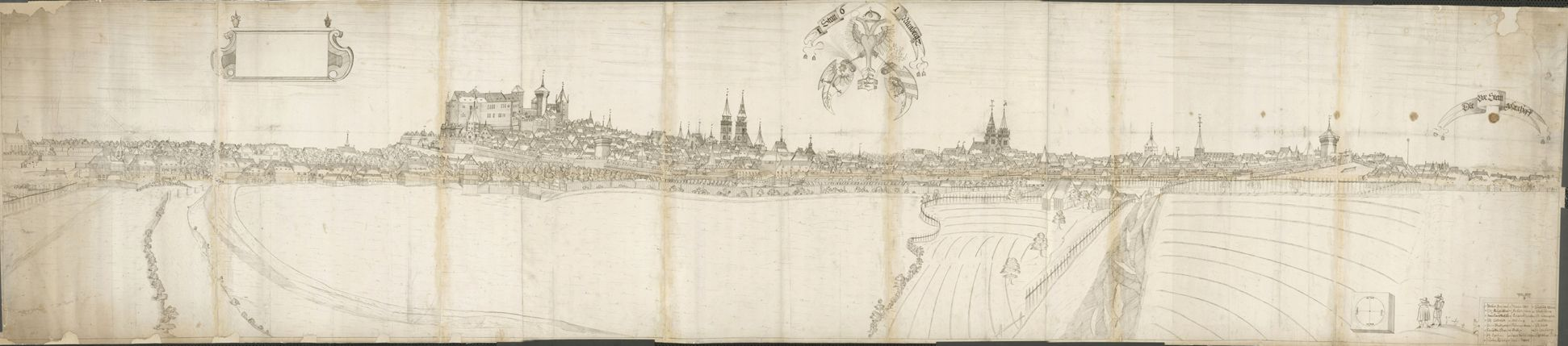 Panoramic view of the City of Nuremberg as seen from the west Total drawing consisting of several paper sheets