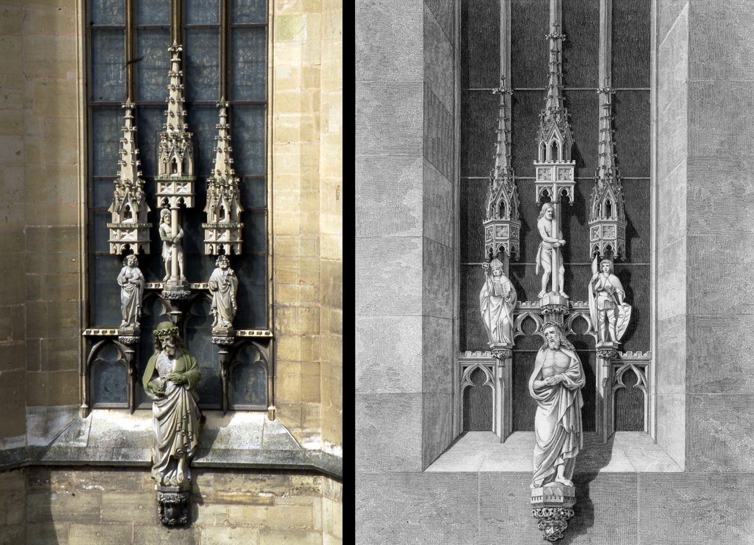 Man of Sorrows with triad (group of three) (Rothenburg on the Tauber) L: Photo, r.: Engraving of Heideloff´s ornamentation in the Middle Ages. The pinnacles are not typically Gothic as is the style of the figures. Mainly Heideloff here wants to present his own concept of Gothic Revival as truly medieval.