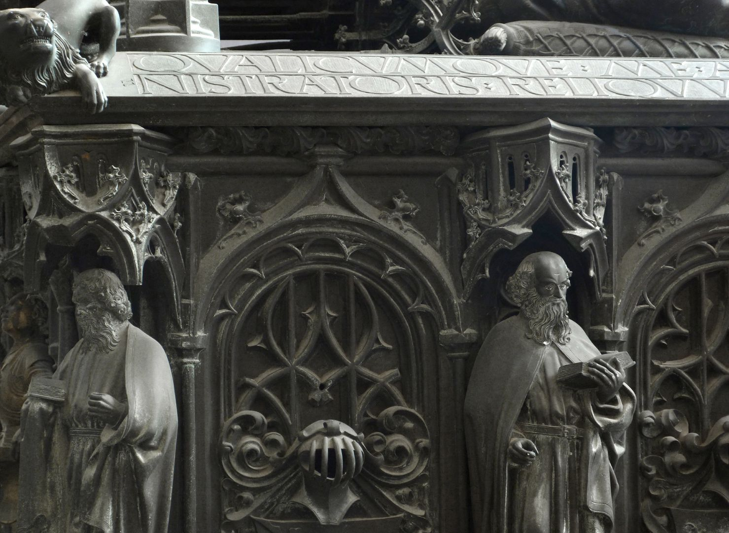 Tomb of the Archbishop Ernest of Saxony Detail of two apostles with canopies and tracery