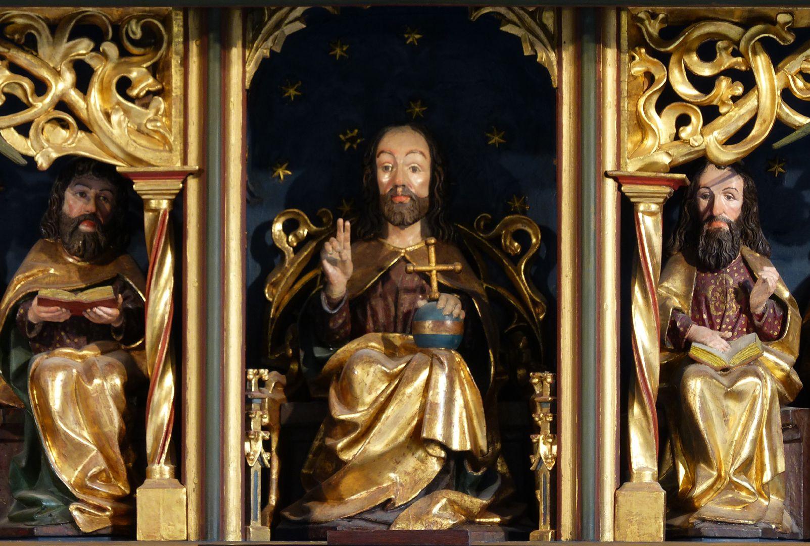 Zwickauer Hochaltarretabel Predella, Schnitzwerk, Mittelteil mit Christus