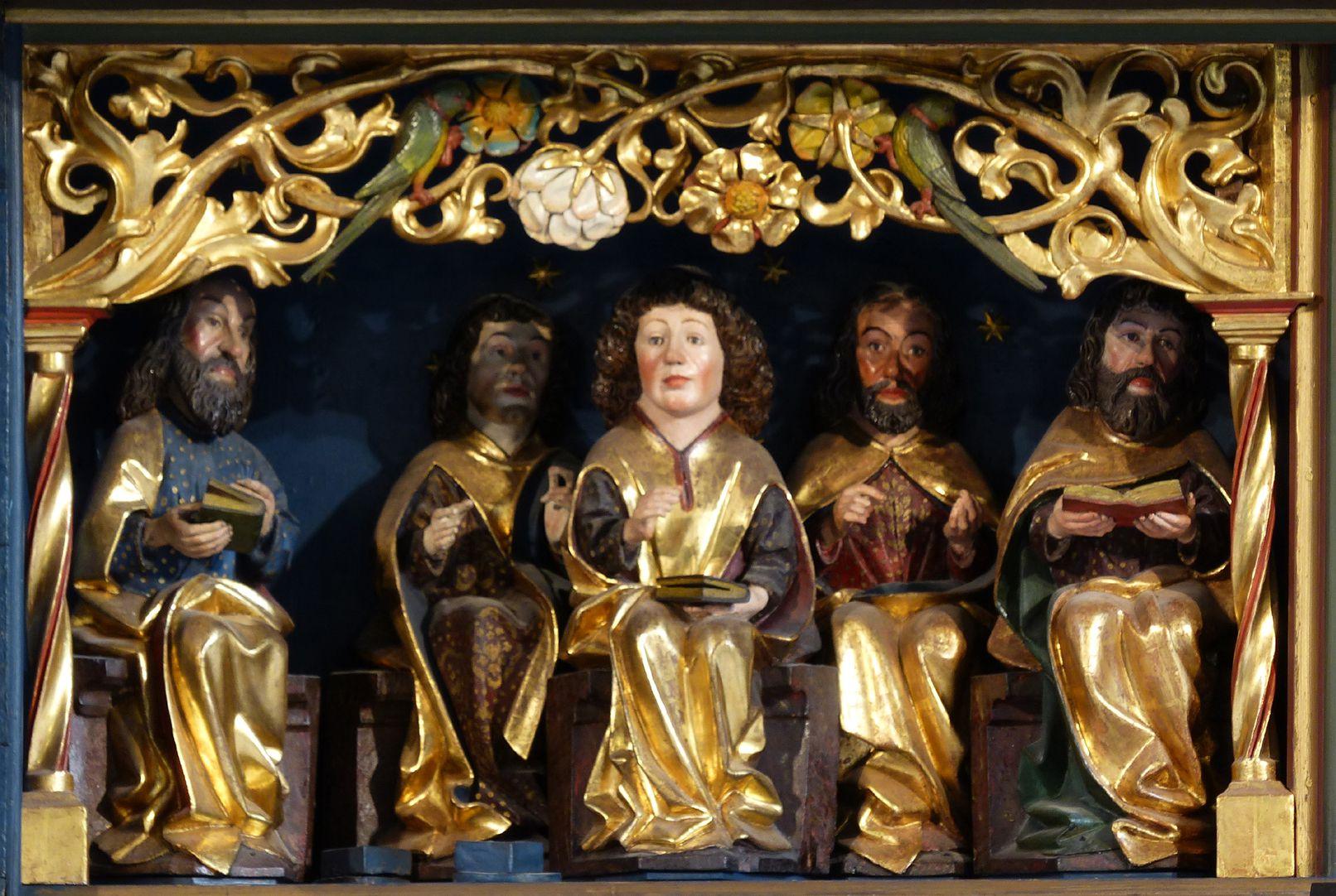 Zwickauer Hochaltarretabel Predella, Schnitzwerk, linkes Apostolat