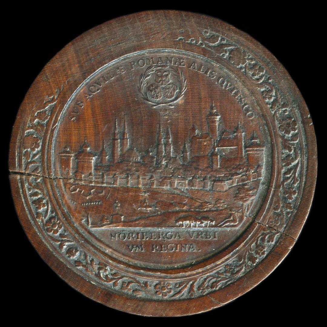 Spielstein mit Nürnberg Stadtansicht von Osten und Friedensallegorie Spielsteinseite mit Stadtansicht von Nürnberg