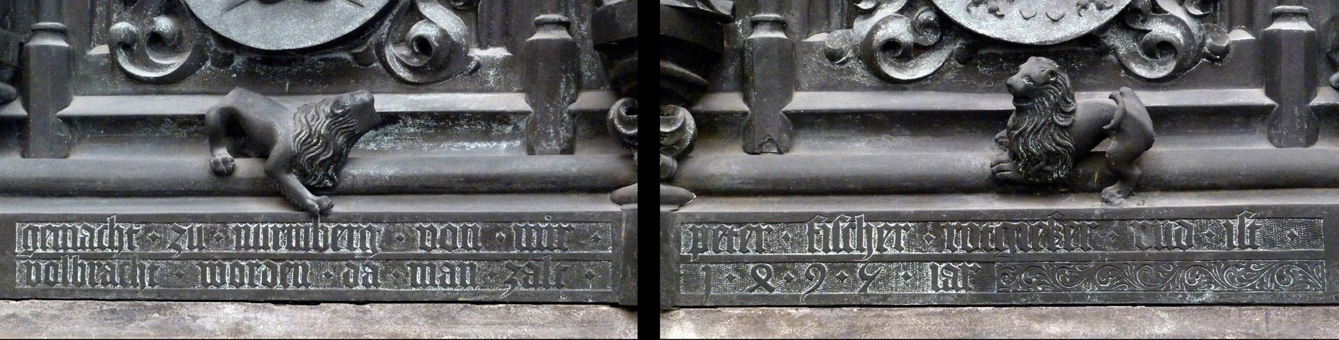 """Tomb of the Archbishop Ernest of Saxony Tumba, Ostfront - Zusammensetzung der Sockelinschrift: Tomb, east side – the with the assembled inscription """"gemacht . zu . nurmberg . von . mir . peter . fischer . rotgießer . und . ist . vollbracht . worden . da . man . zalt (=zählt) . 1495 . iar (=Jahr"""