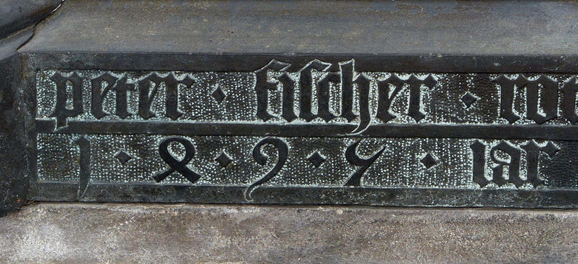 Tomb of the Archbishop Ernest of Saxony Signature of Peter Vischer and year 1495