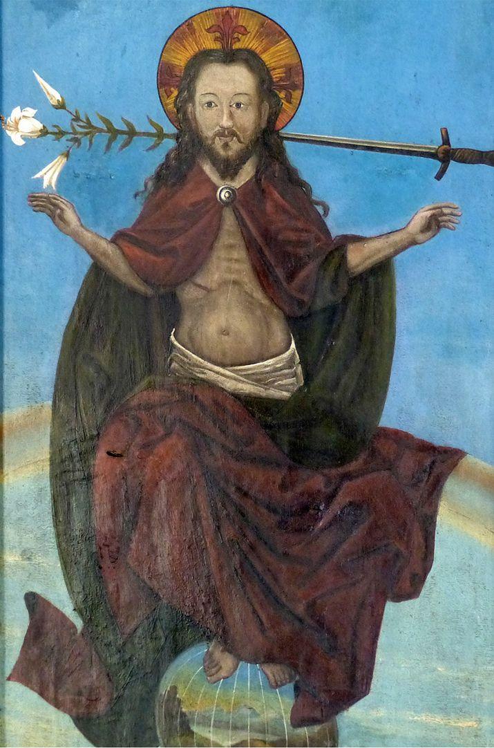 Zwickauer Hochaltarretabel Schrein , Rückseite, Christus als Richter auf dem Regenbogen