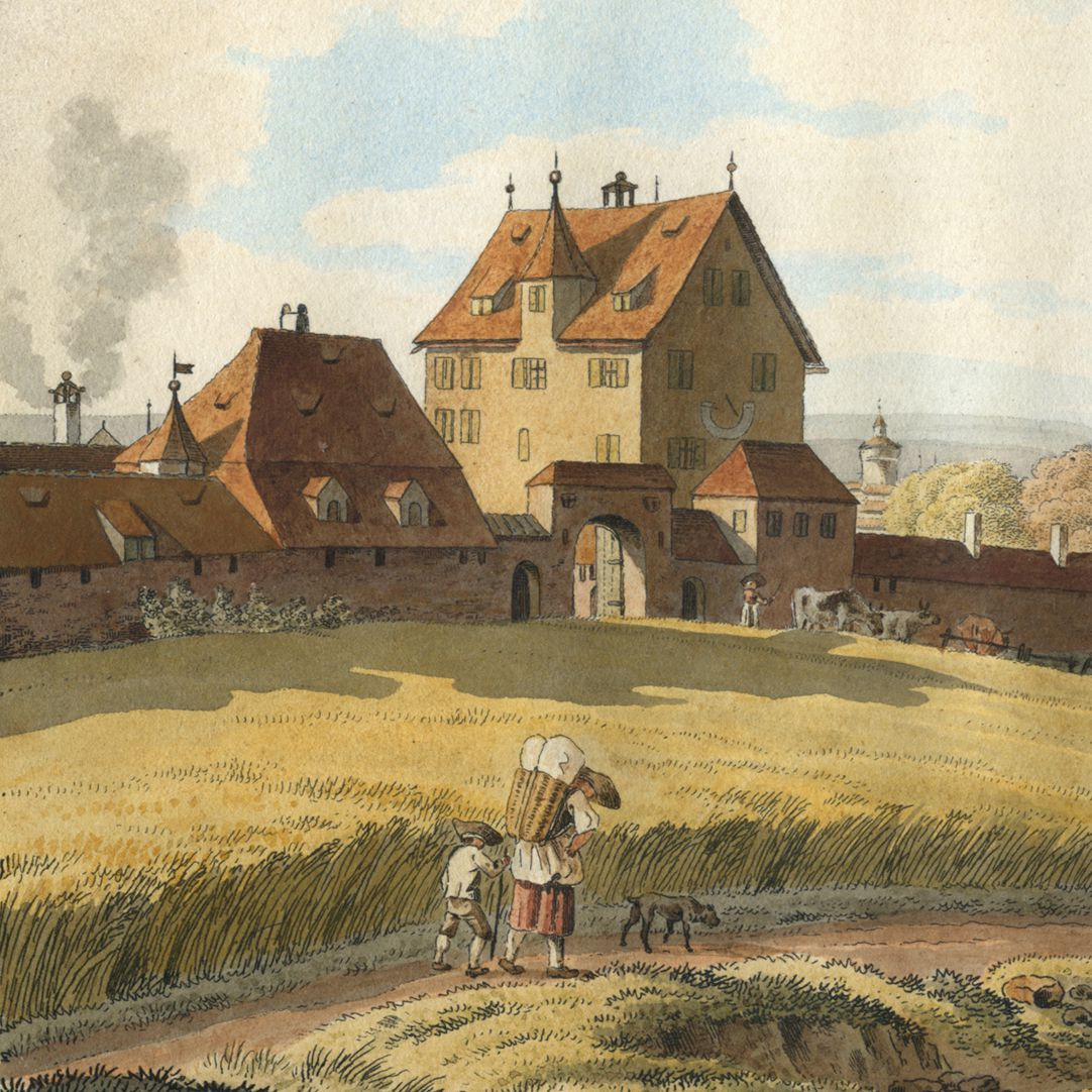 Schiebelsberg (Schübelsberg) Detail view with manor house Schübelsberg