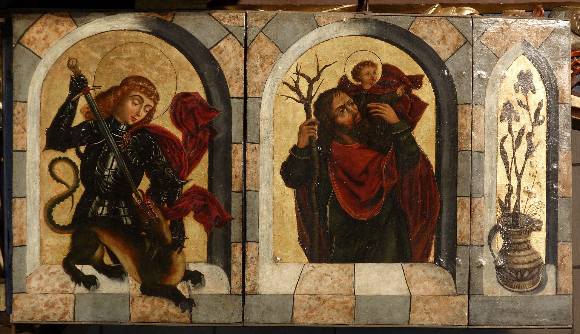 Zwickauer Hochaltarretabel Predella, aufgeklappter rechter Flügel, mit Georg und Christophorus