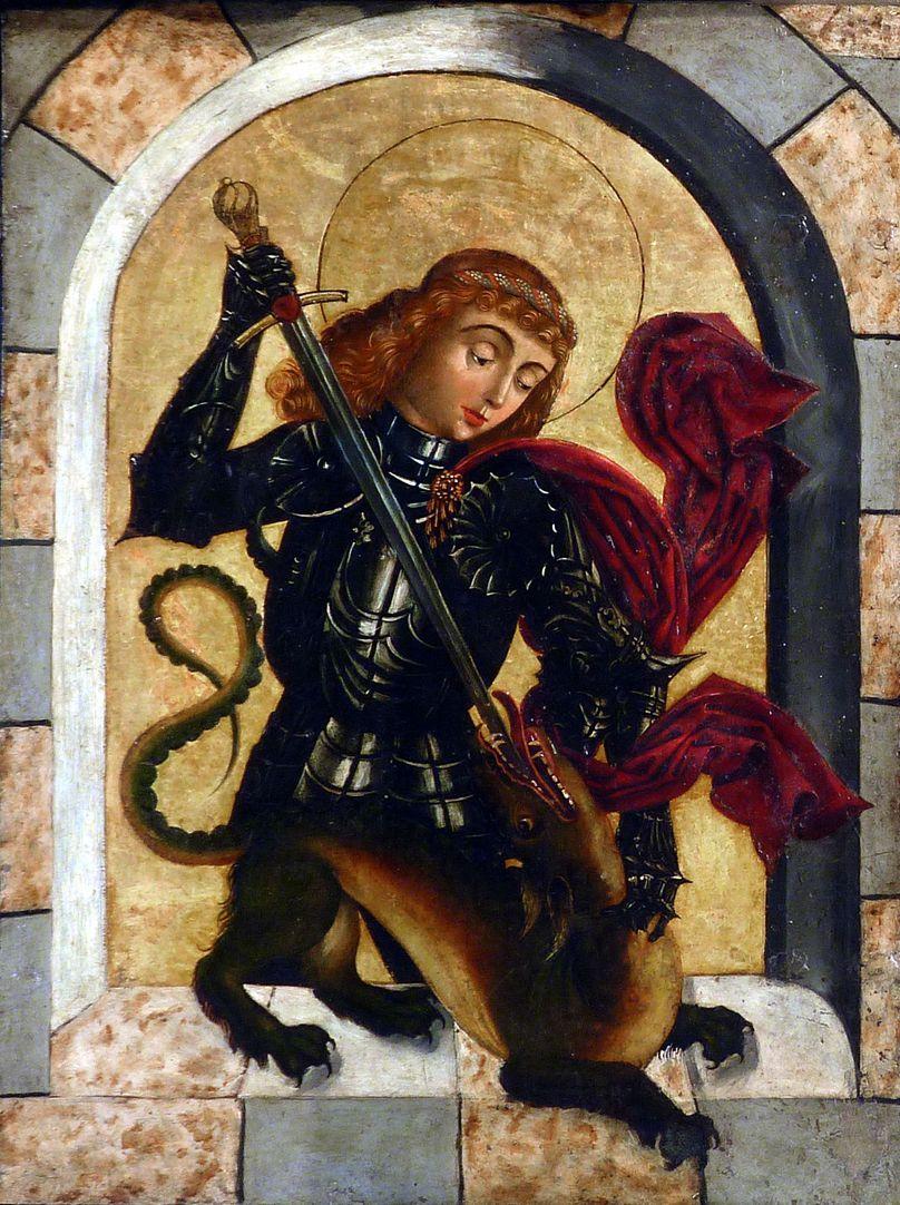 Zwickauer Hochaltarretabel Predella, aufgeklappter rechter Flügel, Georg mit dem Drachen