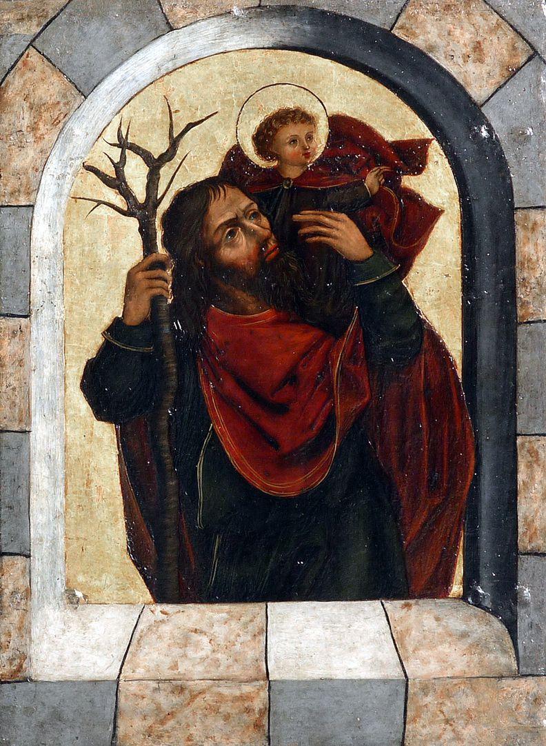 Zwickauer Hochaltarretabel Predella, aufgeklappter rechter Flügel, Christophorus mit Jesukind