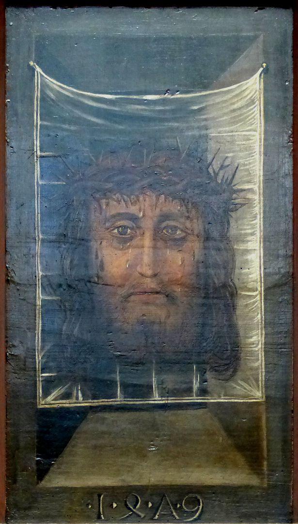 Zwickauer Hochaltarretabel Predella, Rückseite, Mittelteil: Schweißtuch der Veronika, mit Jahresangabe 1479