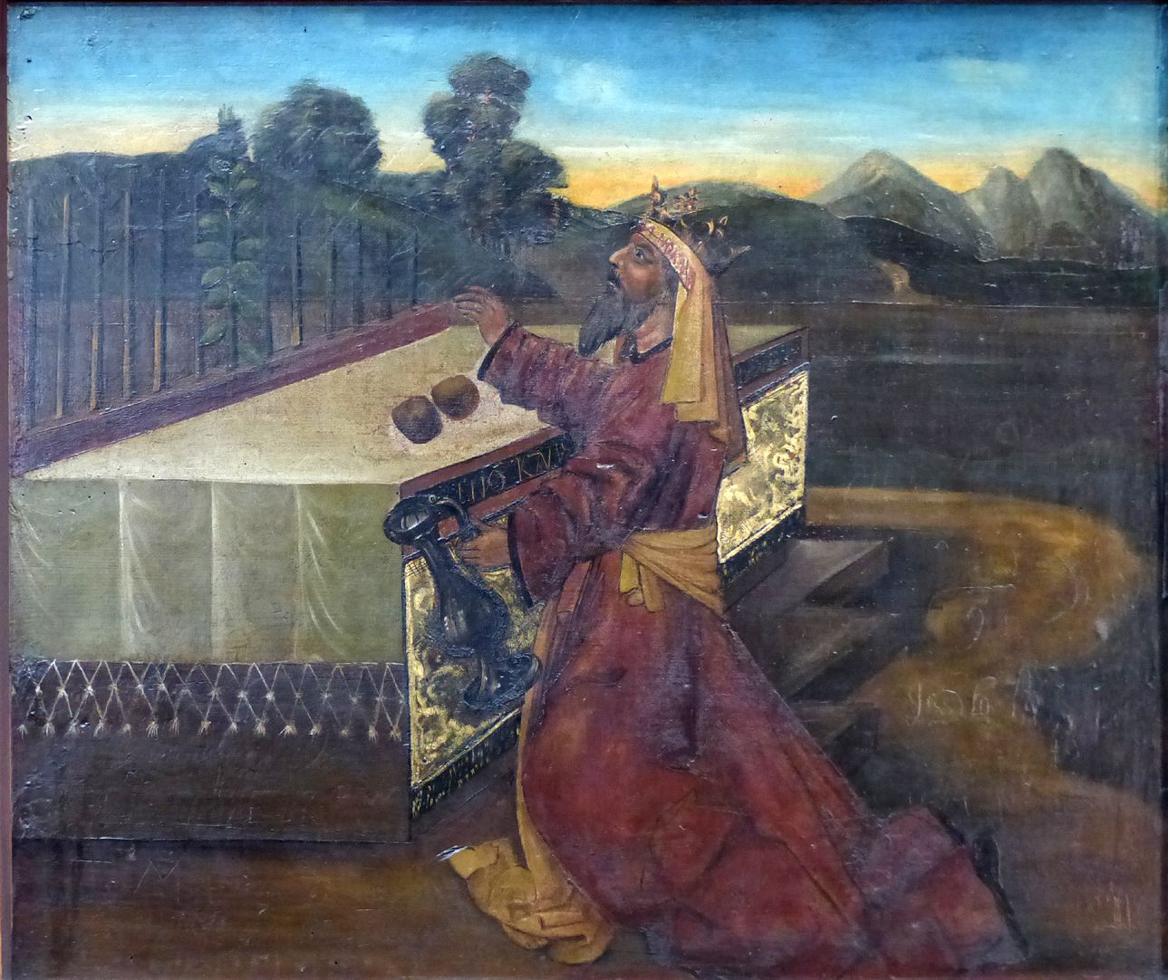 Zwickauer Hochaltarretabel Predella, Rückseite, rechte Tafel: Hoher Priester Melchisedek