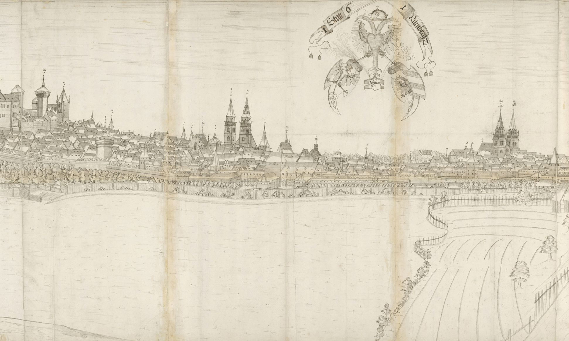 Panoramic view of the City of Nuremberg as seen from the west Central third (from the Great Hall to the tower Red Z), placed in the center the triple coat of arms