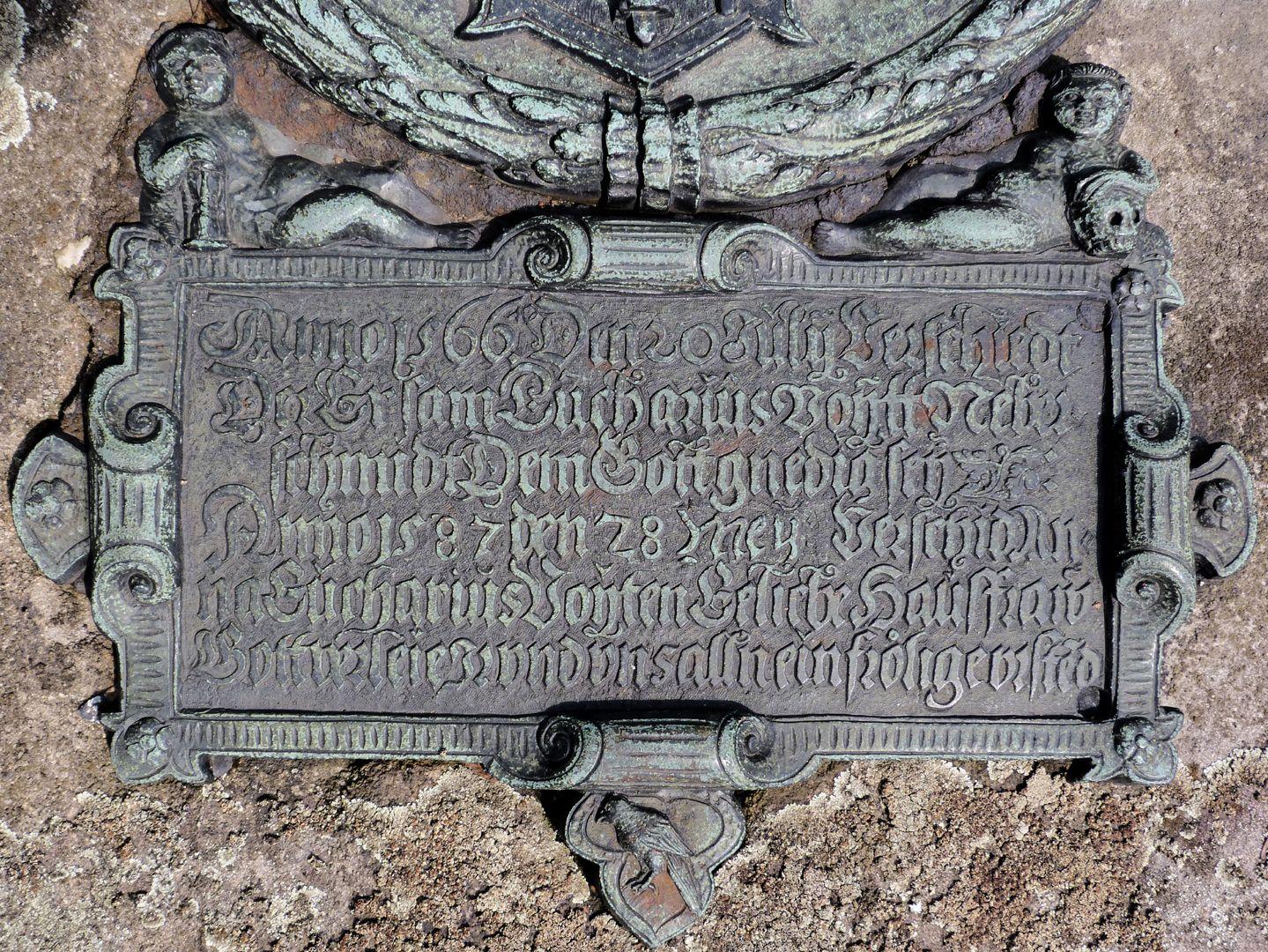Epitaph des Eucharius Voytt Inschrifttafel