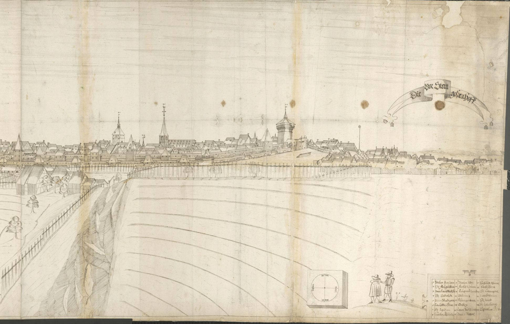 Panoramic view of the City of Nuremberg as seen from the west Central third (from the Great Hall to the tower Red Z)