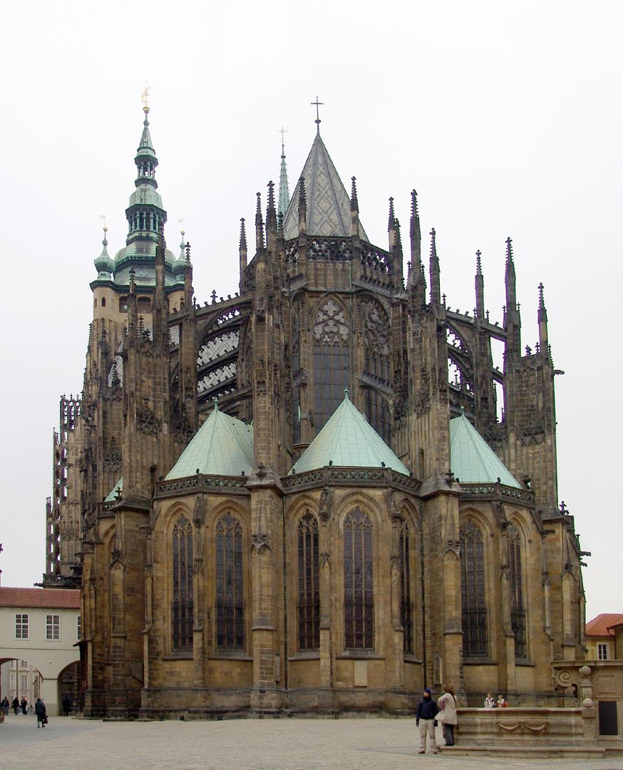 Prague, St. Vitus Cathedral Choir, clerestory and buttresses by Peter Parler