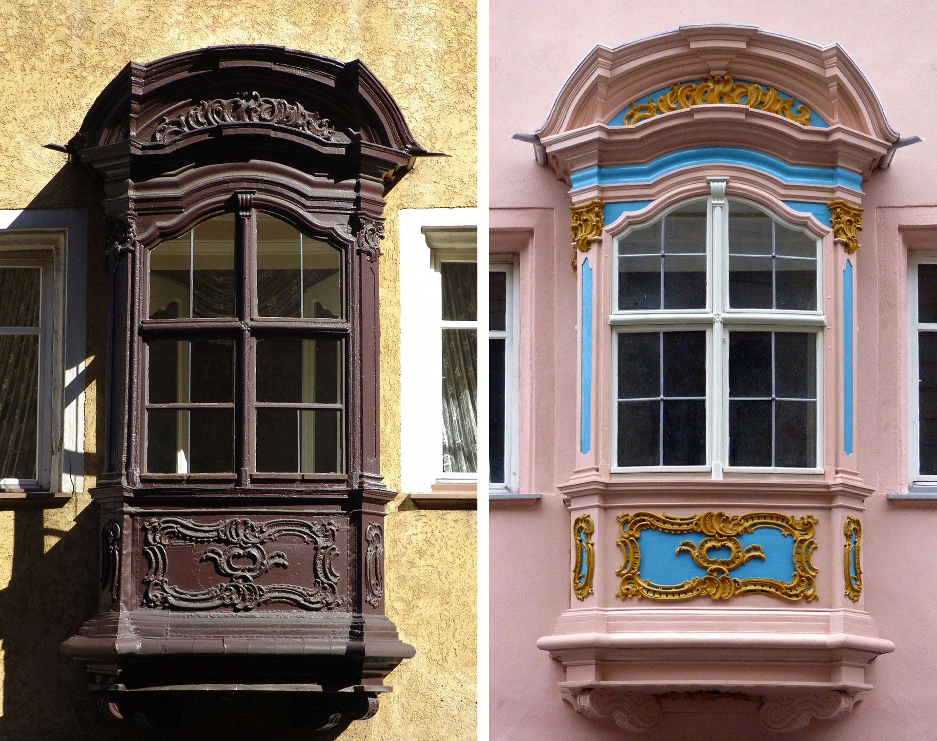Adlerstraße 16, oriel window Oriel window before and after restoration