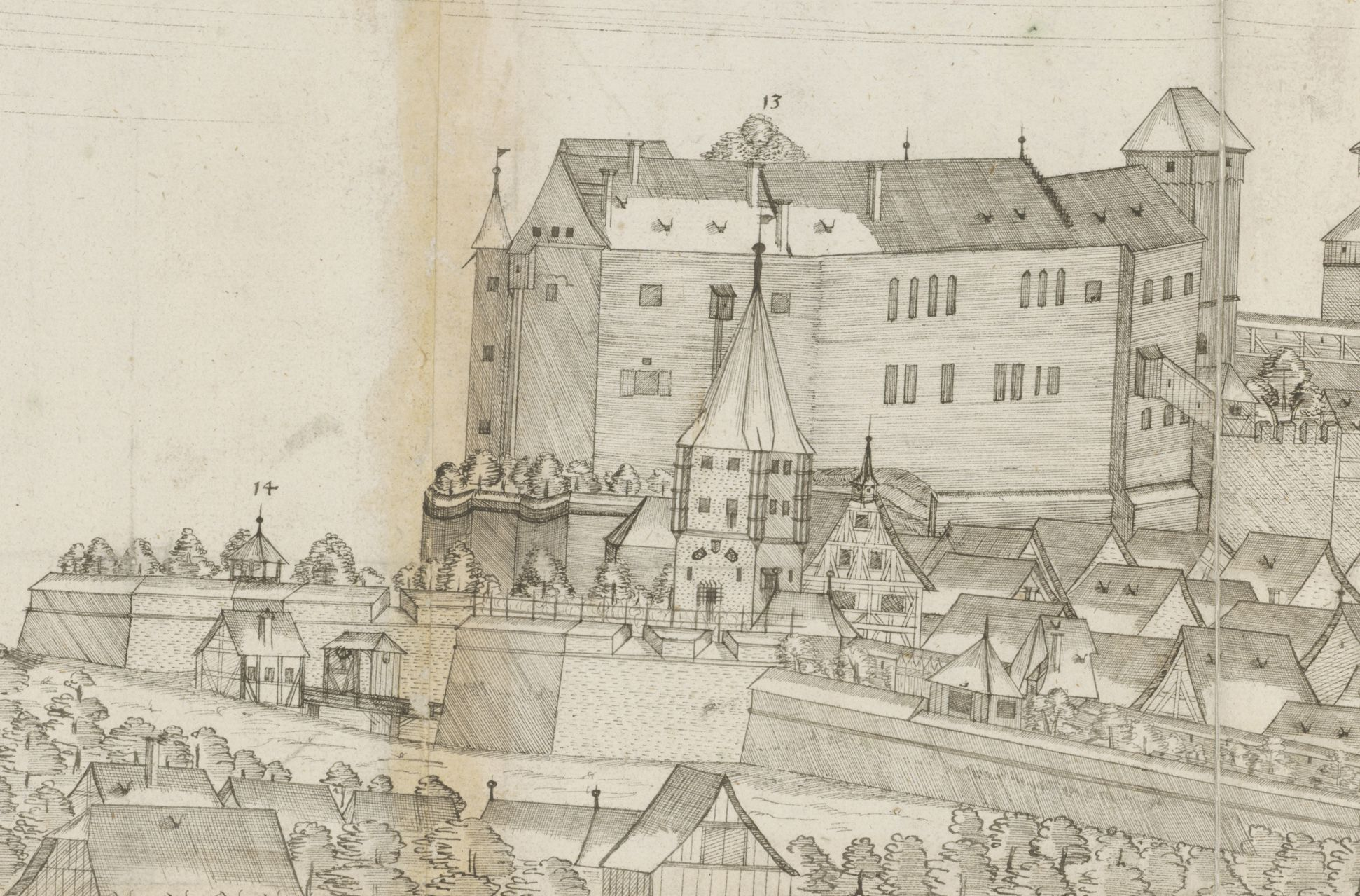 Panoramic view of the City of Nuremberg as seen from the west Western panorama, detail with Neutorgraben, Tiergärtnertorturm, Great Hall and Ladies´Chamber and Chapel of the Castle, Heidenturm (Heathens`Tower)