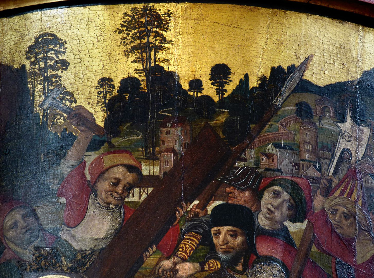 Thanhauser Epitaph Landschaft auf Goldgrund mit Detail der Kreuztragung