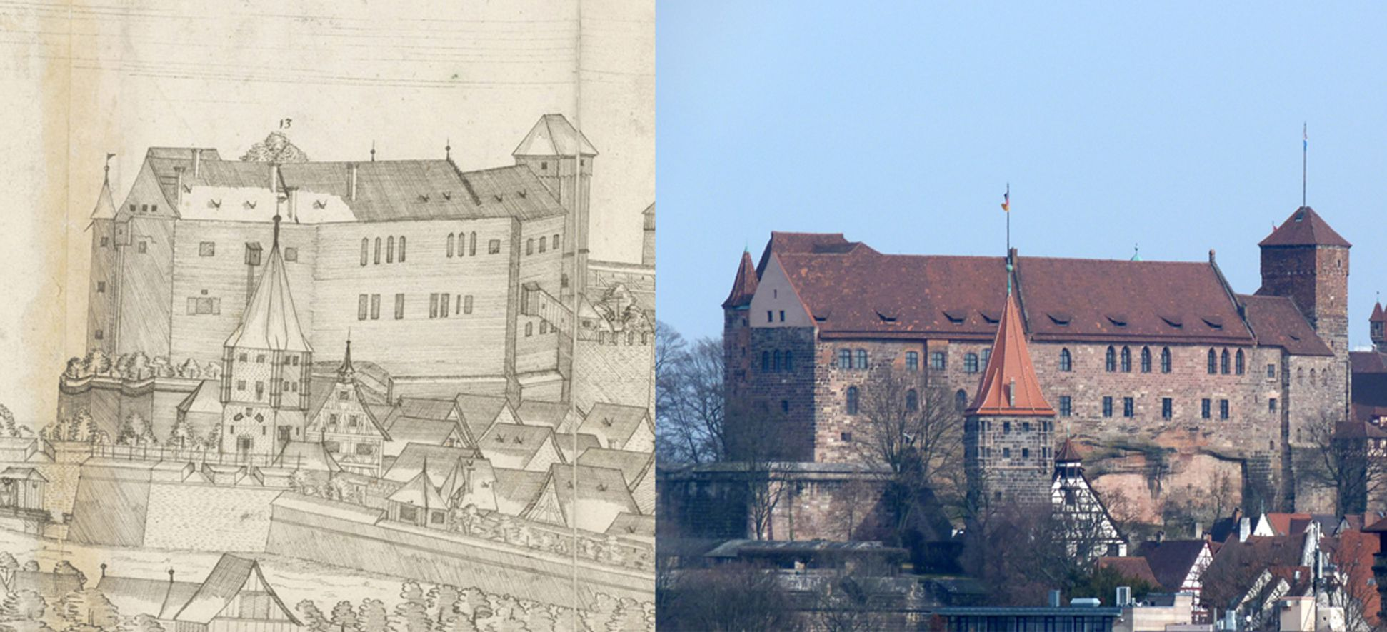 Panoramic view of the City of Nuremberg as seen from the west Contrasting detail with Neutorgraben, Tiergärtnerrorturm, Great Hall and Ladies´Chamber and Chapel of the Castle, Heidenturm (Heathens`Tower) with the state of today