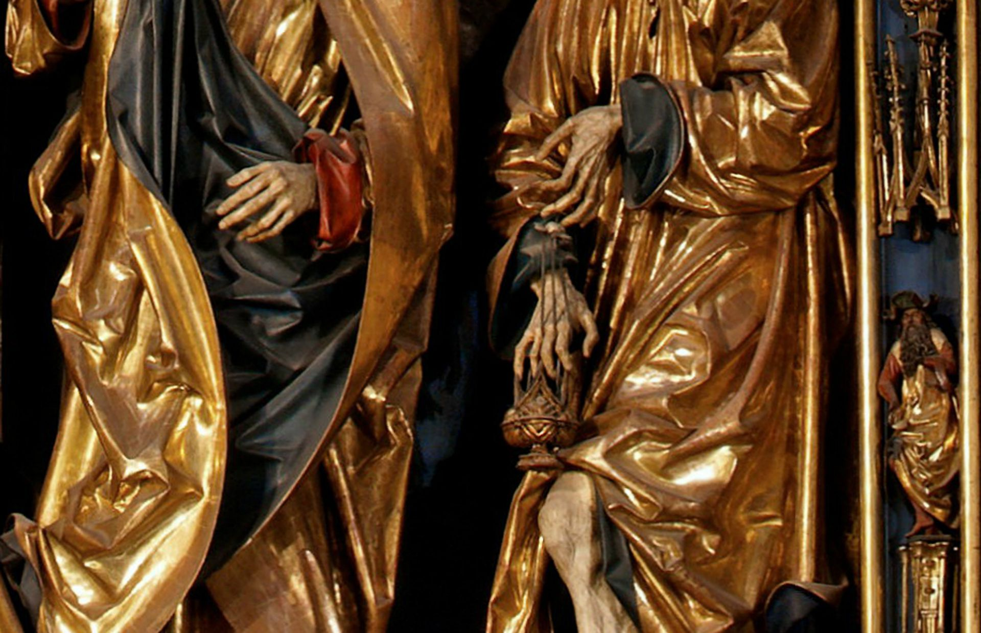 Altar of Mary Shrine detail with hands