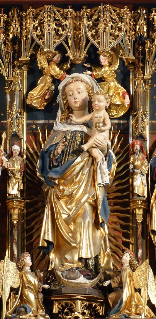 Zwickauer Hochaltarretabel Schrein, Maria mit dem Jesuskind und vier Engeln, die oberen Kronenhalter, die unteren Präsentationsengel
