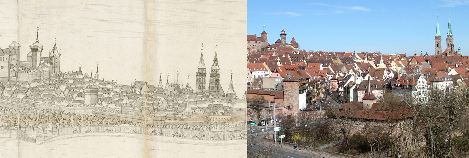 Panoramic view of the City of Nuremberg as seen from the west Contrasting detail from the central third with Heidenturm (Heathens`Tower), Sinwell Tower, Luginsland Tower, Neutor (bottom) and St. Sebald-Church with the state of today