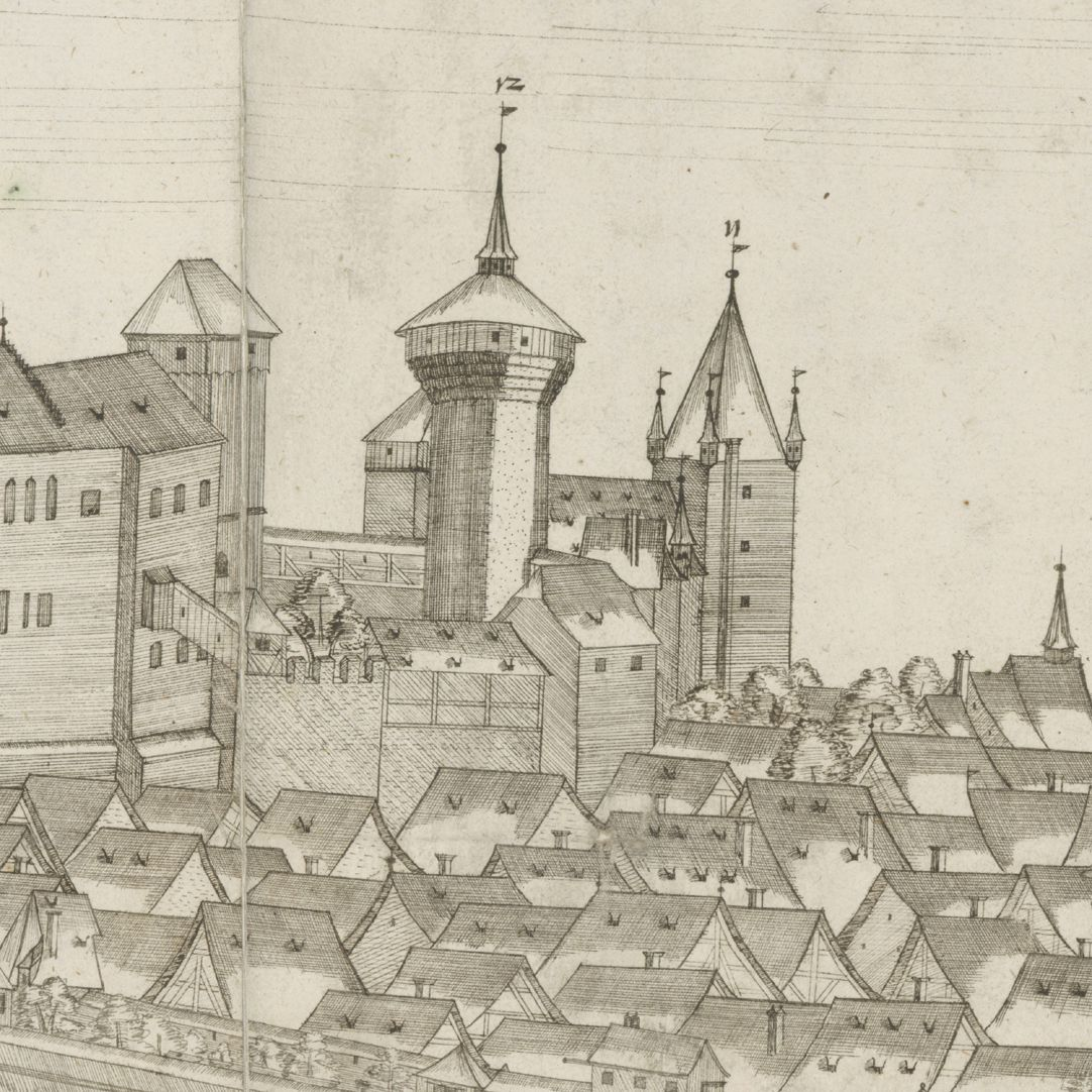 Panoramic view of the City of Nuremberg as seen from the west Detail Castle