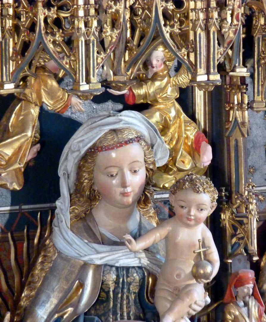 Zwickauer Hochaltarretabel Schrein, Maria mit Jesuskind, Detail