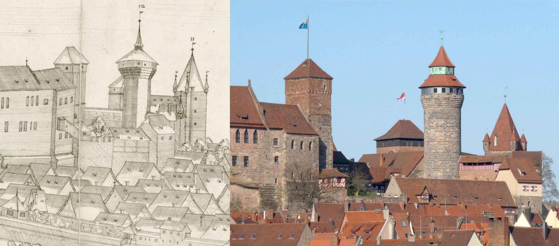 Panoramic view of the City of Nuremberg as seen from the west Contrasting detail of the Castle with the state of today