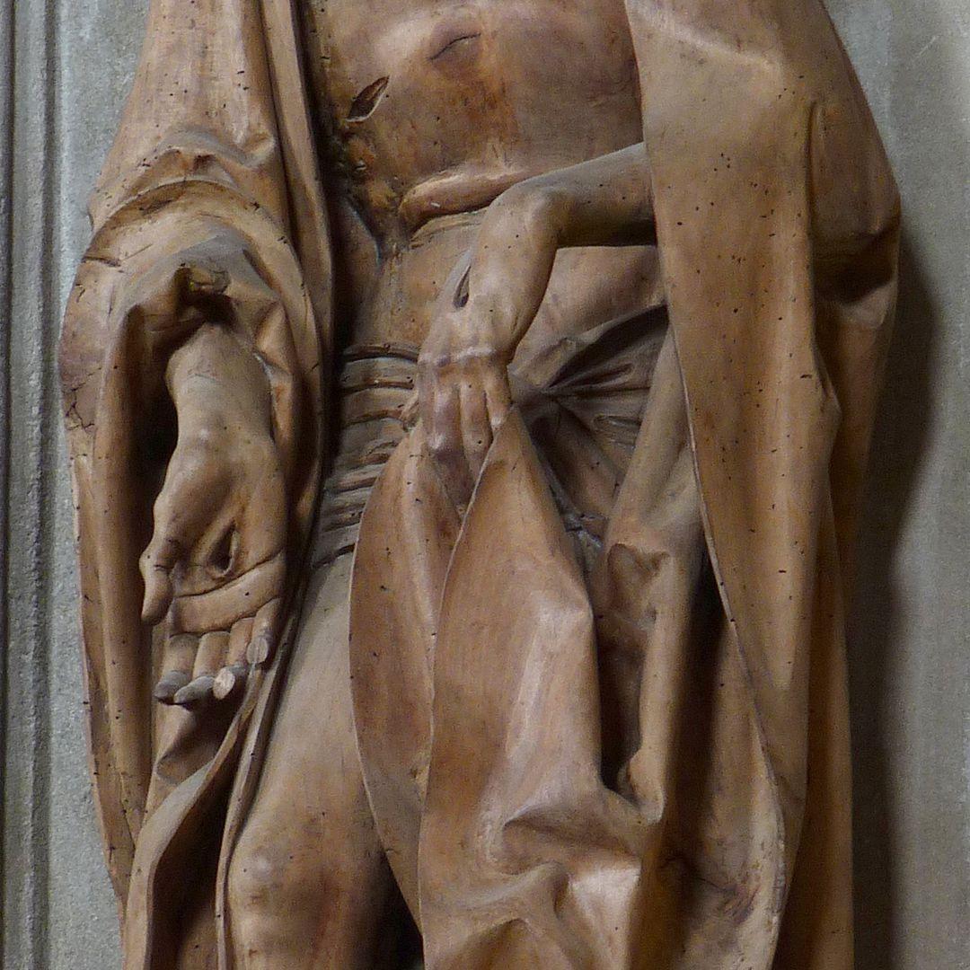 Mary, Christ, John Man of Sorrows, detail