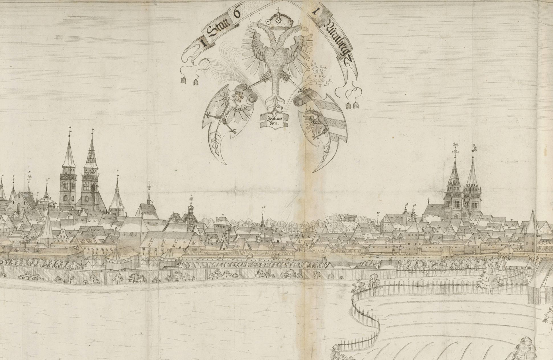 Panoramic view of the City of Nuremberg as seen from the west Detail of the central part with the two main churches and the triple coat of arms