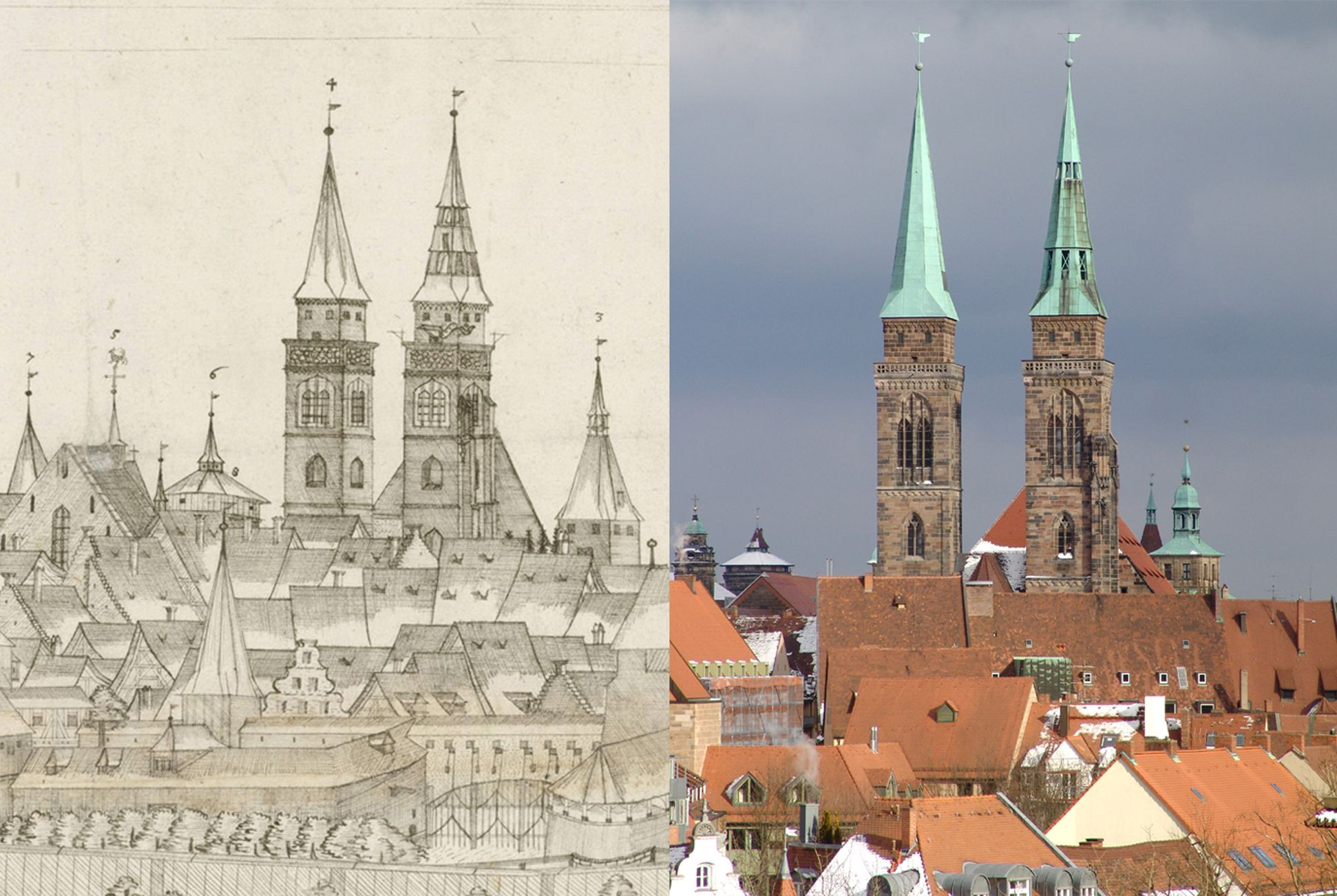 Panoramic view of the City of Nuremberg as seen from the west Contrasting the detail St. Sebald-Church with the state of today (please note on the photo right of St. Sebald-Church the central tower of the Wolffsches Rathaus (City Hall)