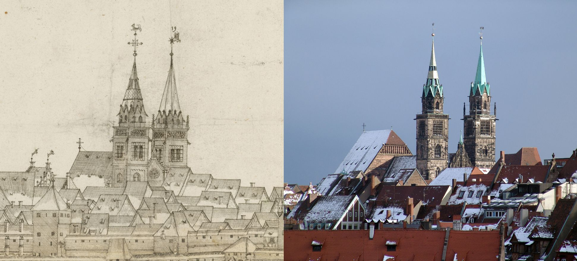Panoramic view of the City of Nuremberg as seen from the west Contrasting the detail St. Lorenz-Church with the state of today