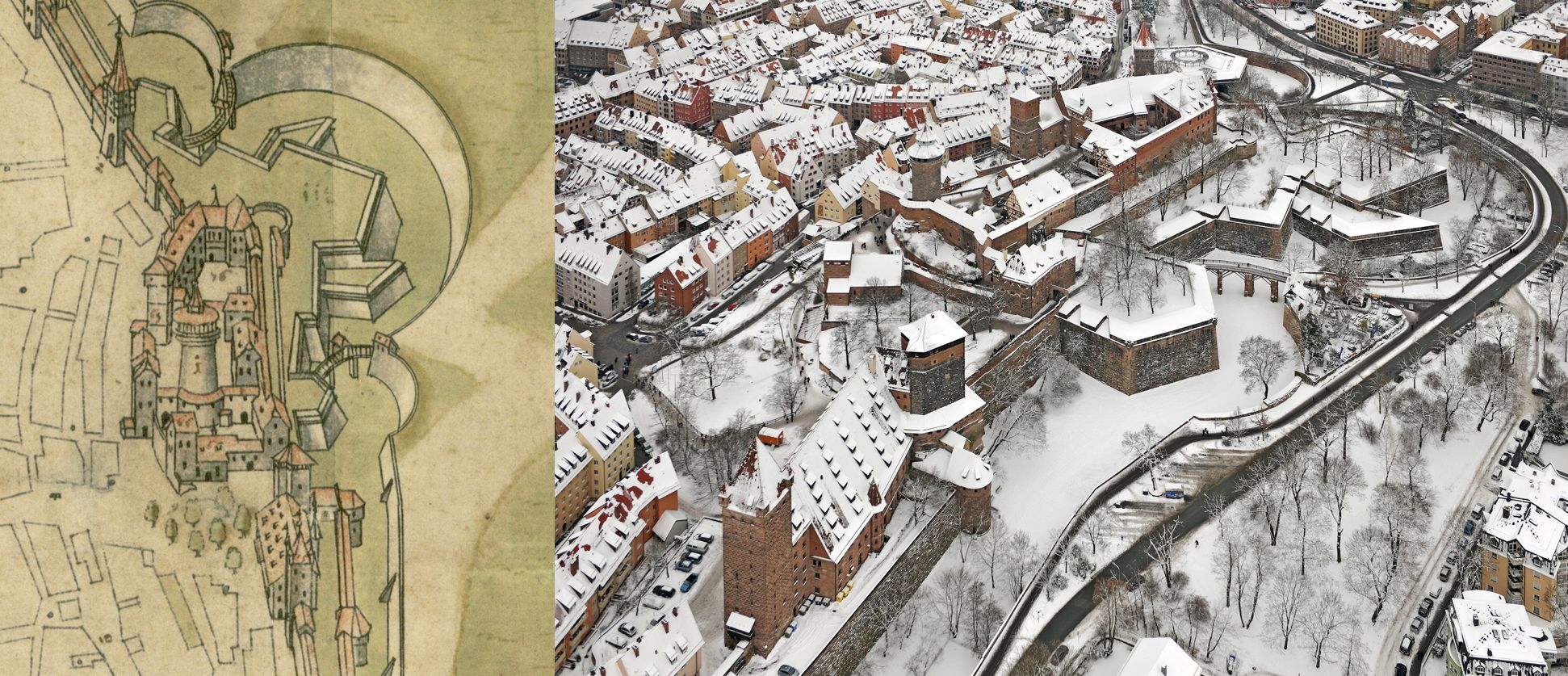 Steep Top View from the east Castle area and bastions, comparison Bien (viewexactly to the east) and aerial photo (view from the north-east)