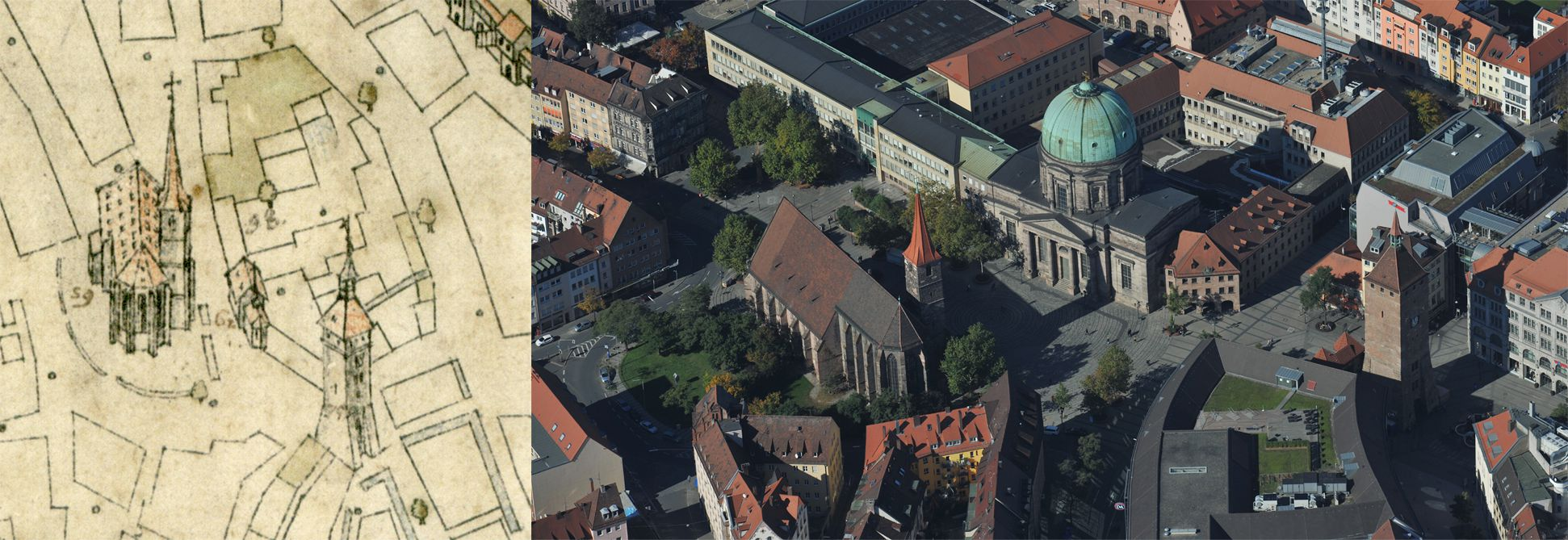 Steep Top View from the east Comparison of Bien and aerial photo: from right to left White Tower, Elisabeth-Chapel and Jocob´s Church