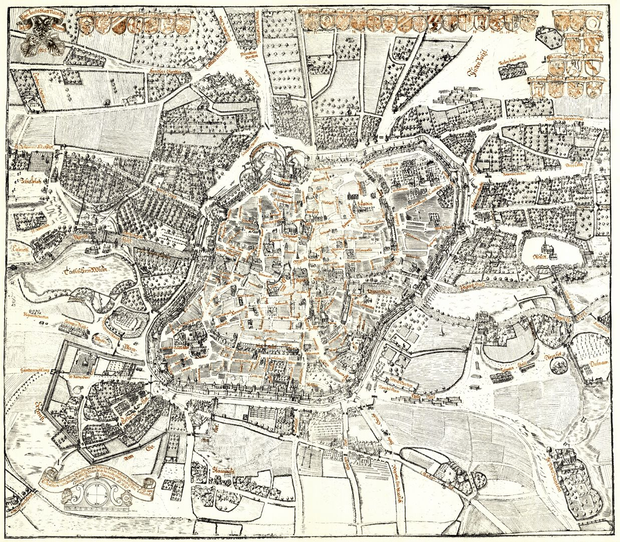 Kress´s map of Nuremberg with surrounding wall General view from the south