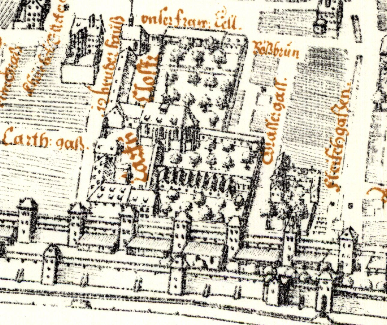 Kress´s map of Nuremberg with surrounding wall Frauentormauer (Ladies`Gate Wall) with estate of the Carthusian Convent