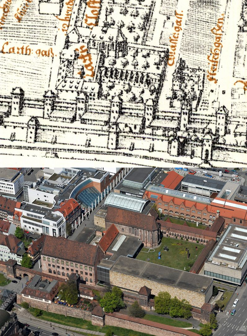 Kress´s map of Nuremberg with surrounding wall Contrasting Bien with photo of German National Museum from the air, of the Buildings of the former Carthuisan convent were preserved cloister east and north wing , behind the latter one three houses of the monks and the Carthusian church