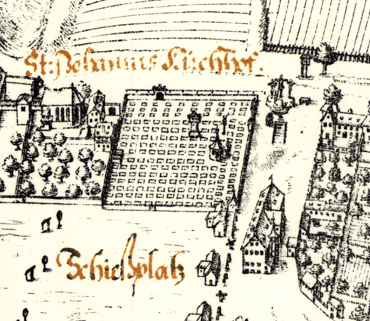 Kress´s map of Nuremberg with surrounding wall Johannis-cemetery from the south: quarter with Holzschuher Chapel and Münzer´s stele, separated by a wall Johannis-Church, on the right: garden houses, in between the former Shooting house (Schießhaus) of the rifle shots