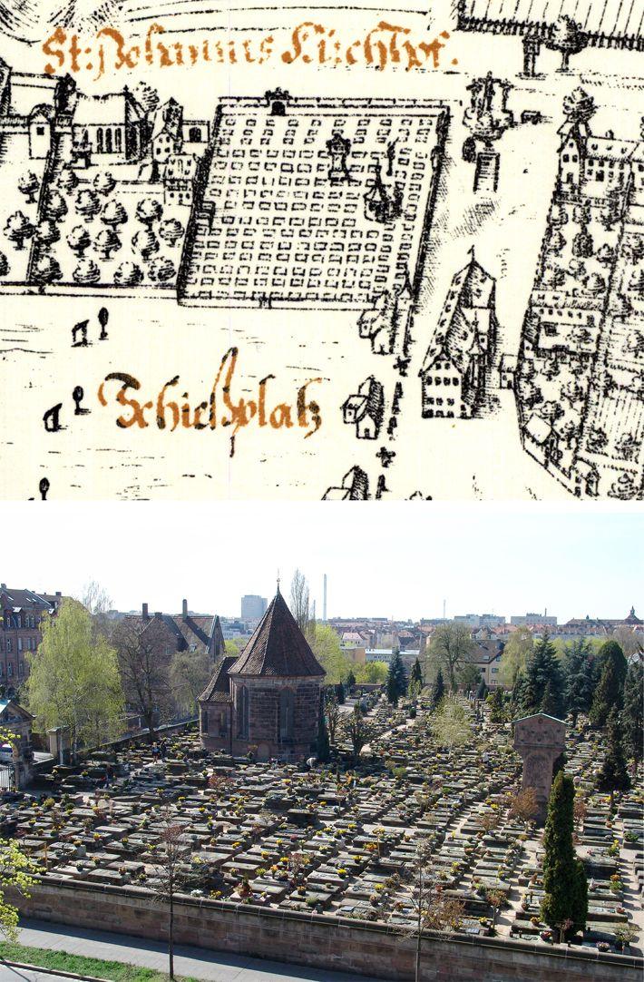 Kress´s map of Nuremberg with surrounding wall Contrasting Bien with photo of the cemetery with Holzschuher Chapel and Münzer´s stele, from the north